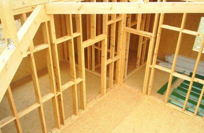 Создание каркаса из деревянных балок либо металлов