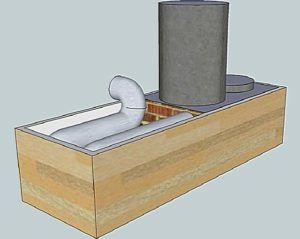 Схема ракетной печи с лежанкой