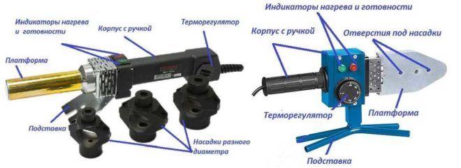 Две конструкции устройства для сварки (пайки) ПП труб