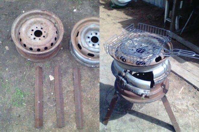 Ножки для мангала из дисков колес