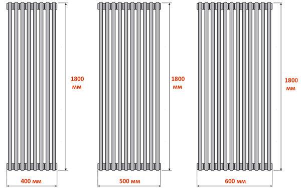 Стандартные секционные параметры для вертикальных радиаторов отопления
