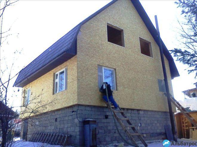 Утепление эковатой стен домов1